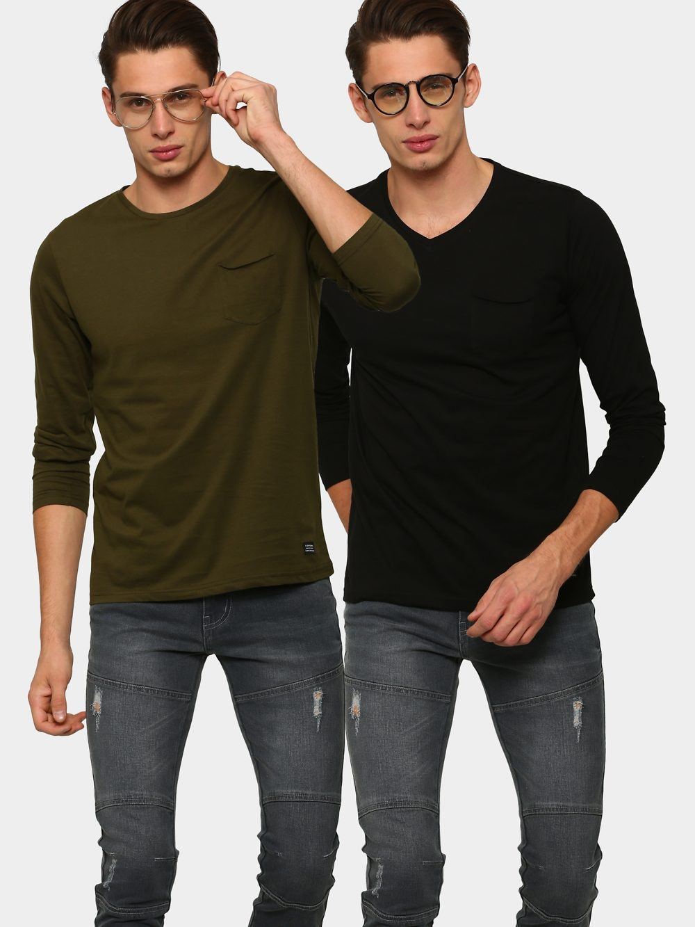 c2c172b26493 abof T-Shirts, abof Men Olive Green & Black Pack of 2 Slim Fit T ...
