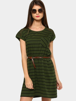 Abof Dresses Abof Women Olive Green Black Striped Dress For Women