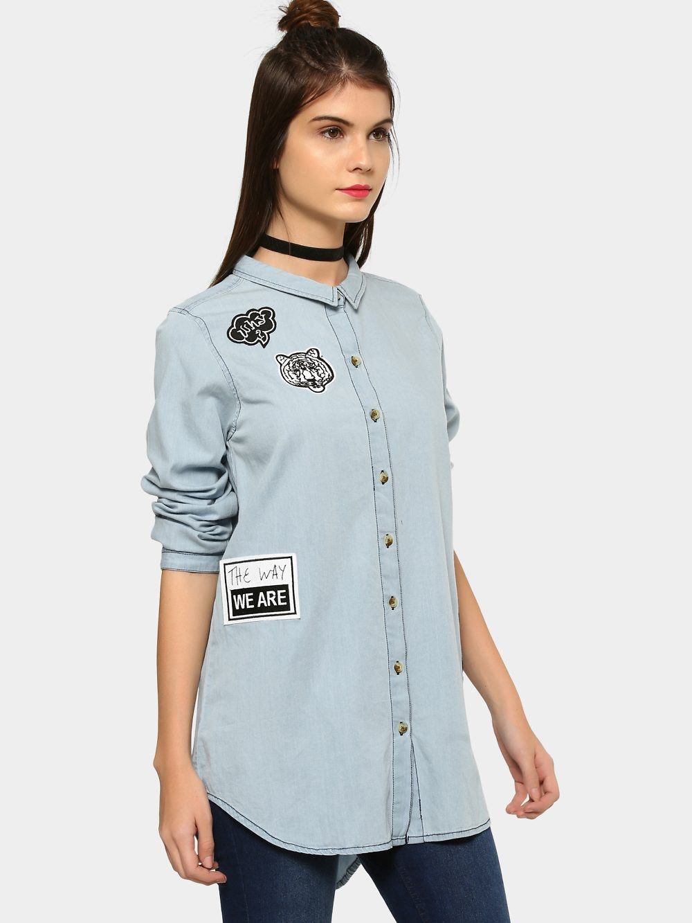 175009e9 abof Shirts & Blouses, abof Women Sky Blue Badge Patch Relaxed Fit ...