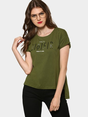 abof Women Olive Green Embellished Slogan Print Regular Fit High-low T-shirt 1fdc142921