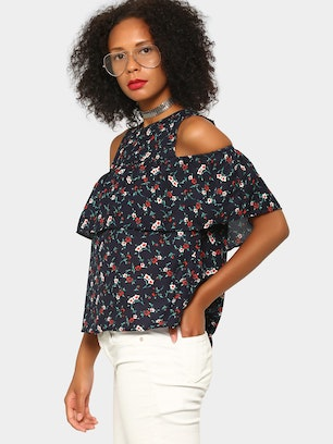 5a3b081491707a abof Women Navy Blue Floral AOP Relaxed Fit Cold Shoulder Top