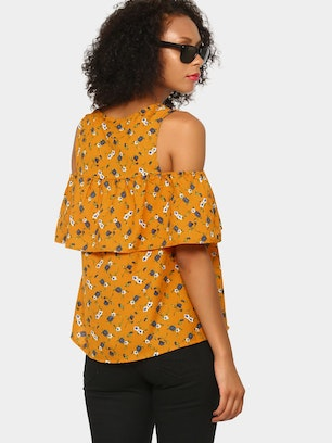 438e5bedf5d4cd abof Women Mustard Yellow Floral AOP Relaxed Fit Cold Shoulder Top