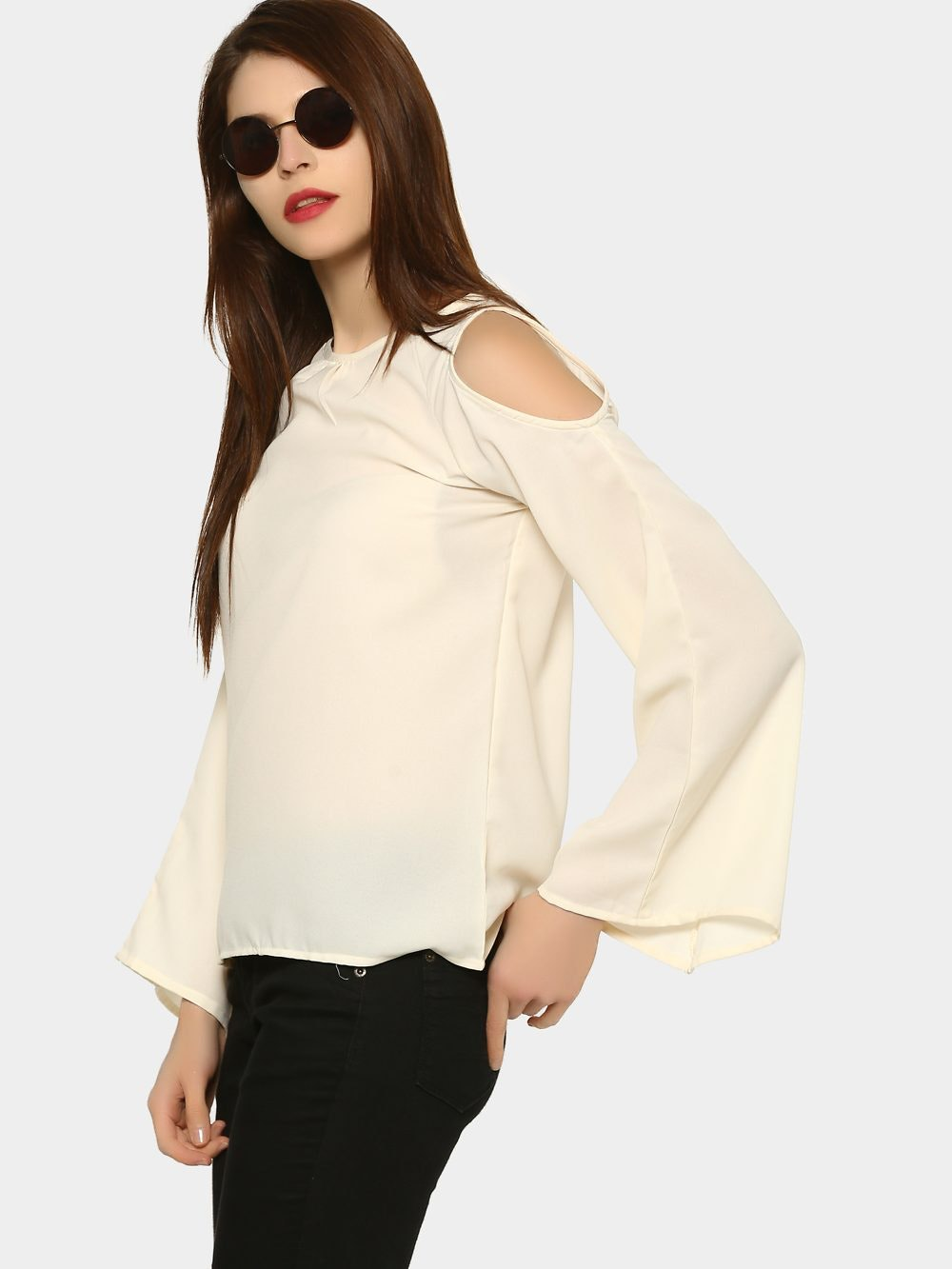 01ffb8634027d abof Women Ivory White Regular Fit Cold Shoulder Bell Sleeve Top